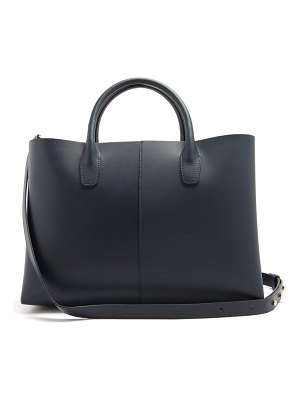 Mansur Gavriel folded navy lined leather bag