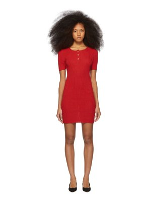 Mansur Gavriel red knit button dress