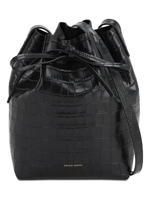 Mansur Gavriel Mini embossed croc leather bucket bag