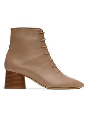 Mansur Gavriel taupe leather lace-up boots