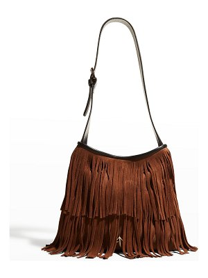 MANU Atelier Fringed Two-Tone Suede Hobo Bag