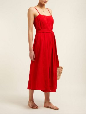 Mara Hoffman Philomena Gathered Cotton Gauze Midi Dress