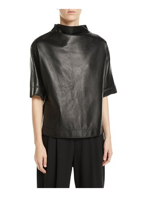 Marc Jacobs Button-Back Mock-Neck Short-Sleeve Lamb Leather Top