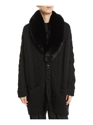 Marc Jacobs Button-Front Cable-Knit Wool Cardigan w/ Faux-Fur Collar