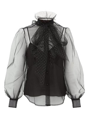 Marc Jacobs crystal embellished neck tie tulle blouse