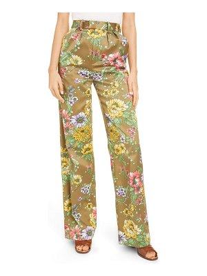 Runway Marc Jacobs marc jacobs floral print pleated silk & cotton pants