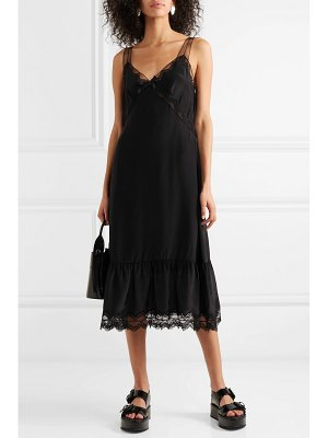 Marc Jacobs lace and tulle-trimmed washed-satin midi dress