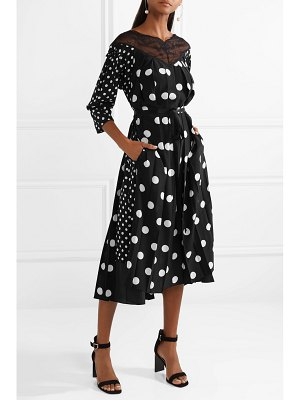 Marc Jacobs lace-trimmed pleated polka-dot silk crepe de chine midi dress
