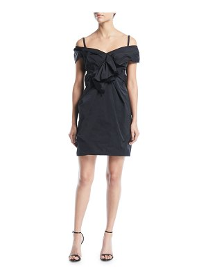 Marc Jacobs Off-the-Shoulder Gathered Mini Dress with Bow Detail
