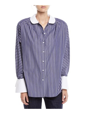 Marc Jacobs Peter Pan Collar Button-Front Striped Shirt w/ Shoulder Pads