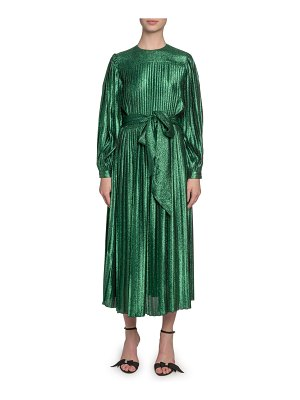Marc Jacobs Runway Pleated Lame Self-Tie Midi Dress