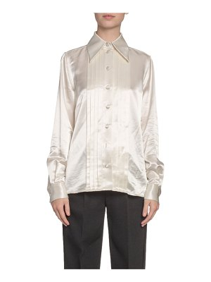 Marc Jacobs Runway Pleated Satin Button-Front Blouse