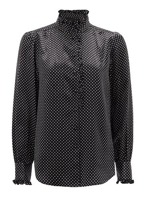 Marc Jacobs Runway high-neck ruffled polka-dot silk-satin blouse