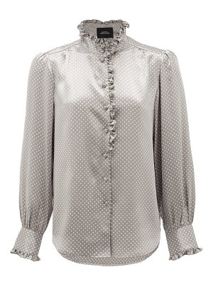 Marc Jacobs Runway ruffled polka-dot silk-satin blouse
