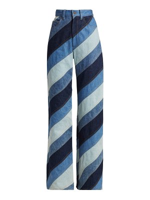 Marc Jacobs runway stripe patchwork wide-leg jeans