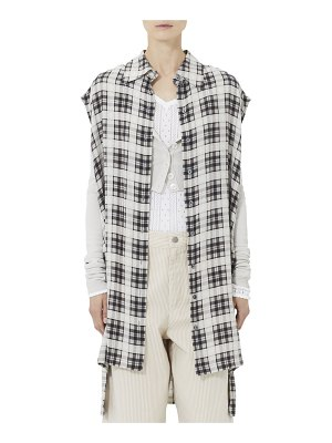 Marc Jacobs Sleeveless Washed Silk Plaid Blouse