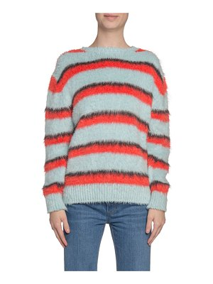 Marc Jacobs Runway Striped Fuzzy-Silk Crewneck Sweater