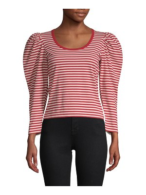Marc Jacobs Striped Puff-Sleeve Cotton Top