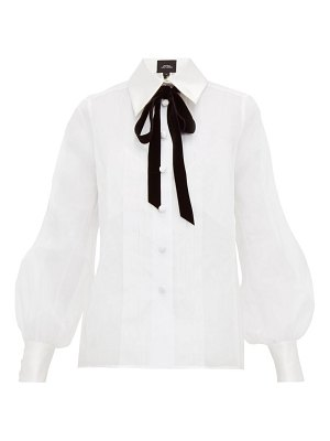 Marc Jacobs velvet pussy bow cotton organza blouse