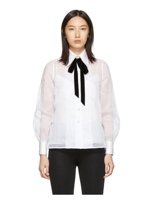 Marc Jacobs white pleated ribbon shirt
