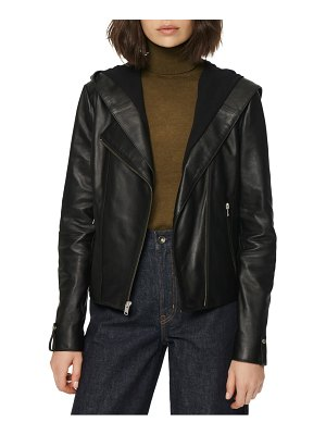 MARC NEW YORK hooded leather jacket