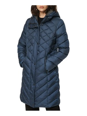 MARC NEW YORK matte jersey lined hooded puffer coat