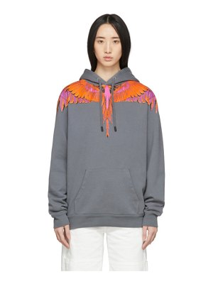 Marcelo Burlon County Of Milan grey and orange wings hoodie