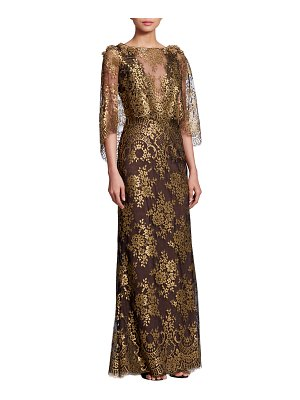 Marchesa Bateau-Neck 3/4-Sleeve Metallic Chantilly Lace Evening Gown