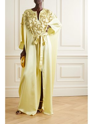 Marchesa belted embellished satin gown