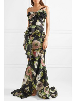 Marchesa bow-embellished floral-print silk-blend moire gown