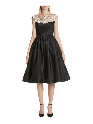 Marchesa cap sleeve silk taffeta fit & flare cocktail dress