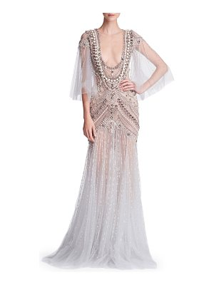 Marchesa Cape-Sleeve Embellished Tulle Evening Gown with Necklace Embroidery