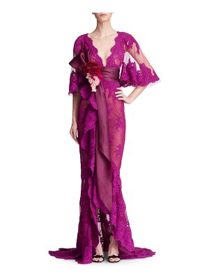 Marchesa Corded Lace Evening Gown with Cascading Ruffle Drape