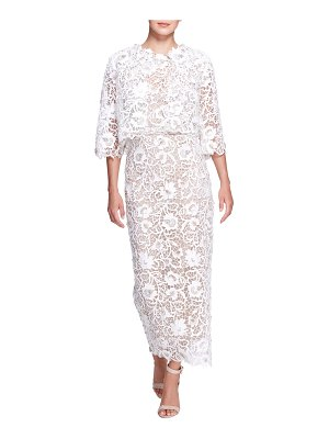 Marchesa Cropped Floral Lace Embroidered Jacket