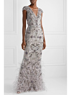 Marchesa embellished feather-trimmed tulle gown