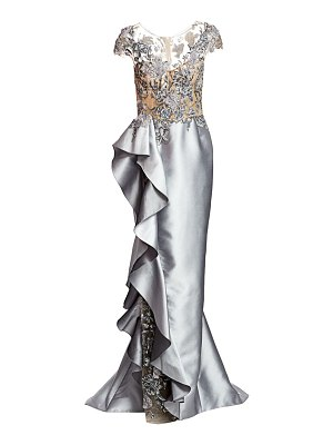 Marchesa embellished illusion silk ruffle gown