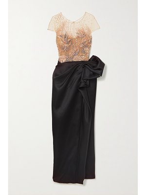 Marchesa embellished metallic tulle and gathered satin gown