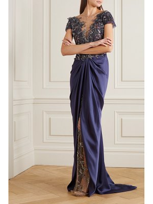 Marchesa embellished tulle and draped satin-crepe gown