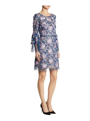 Marchesa Embroidered Bell Sleeve Dress
