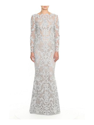 Marchesa Embroidered Damask Lace Gown