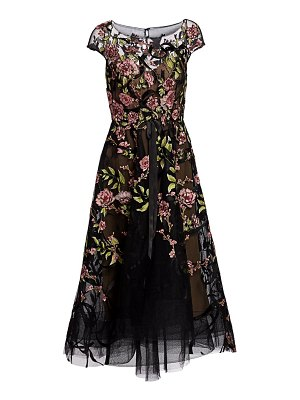 Marchesa embroidered floral tulle cocktail dress