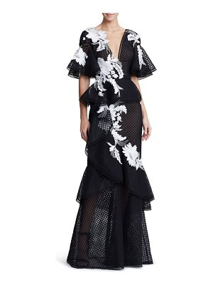 Marchesa embroidered v-neck ruffle gown