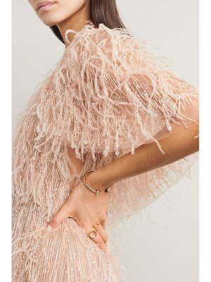 Marchesa feather-trimmed embellished tulle cape