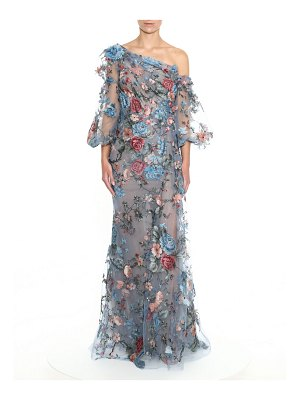 Marchesa Floral Applique One-Shoulder Gown