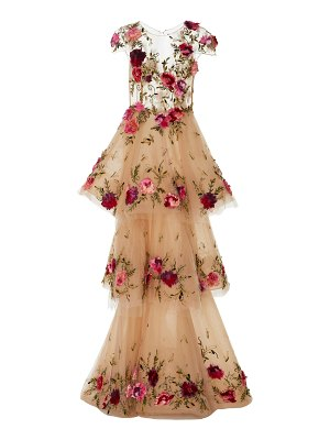 Marchesa floral-appliquéd tiered tulle gown