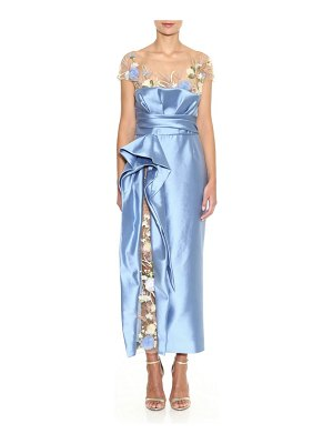 Marchesa floral embellished illusion gown