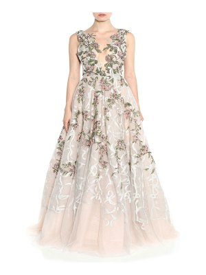 Marchesa Floral Embroidered Ball Gown