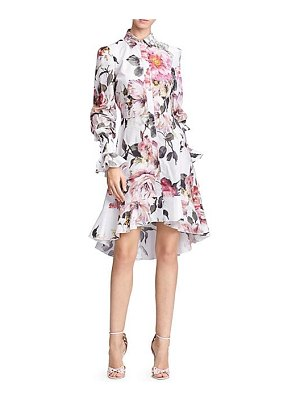 Marchesa floral high-low shirtdress