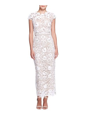 Marchesa Floral Lace Embroidered Column Gown