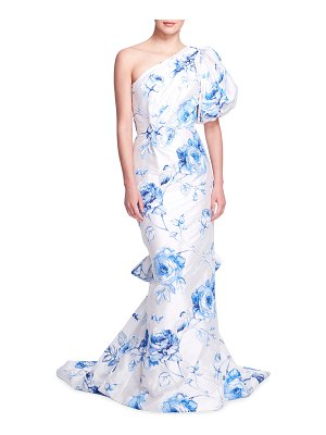 Marchesa Floral-Embroidered One-Shoulder Mermaid Gown